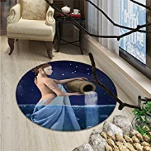 Astrology small round rug Carpet Aquarius Lady with Pail in the Sea Water Signs Saturn Mystry at Night StarsOriental Floor and Carpets Blue Dark Blue