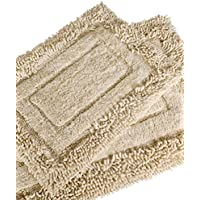 Trade Linker 2-Piece Savoy Shaggy Bath Rug Set, 21 by 34-Inch, White