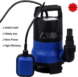 Homdox Sump Pump Submersible Clean Dirty Water Pump 2000GPH 1/2HP 400W Transfer Pump for Swimming Pool, Pond, Aquarium, Hydroponics(Blue)
