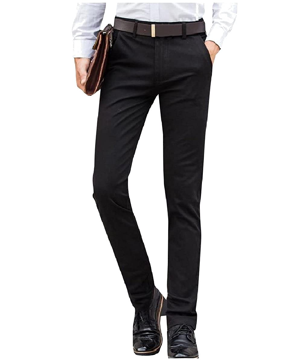 YUNY Men Slim Fitted Cotton Straight No-Iron Solid-Colored Chino Pants 1 35