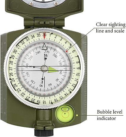 YEHOBU Multifunktionaler Linsen-Kompass Camping /Überlebens-Kompass Milit/ärausr/üstung Notfall wasserdichter Kompass Wandern Armeegr/ün Jagd leuchtendes Kompass