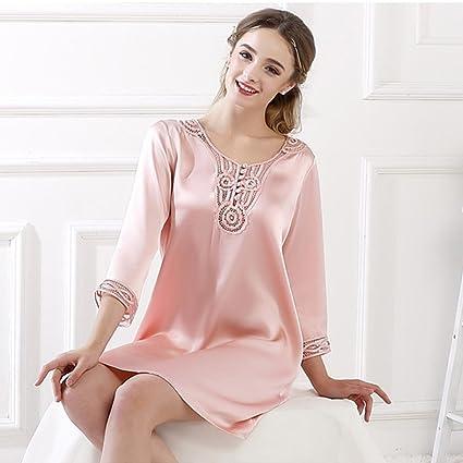 Pijamas de seda del camisón de las mujeres de primavera y verano 100% de seda