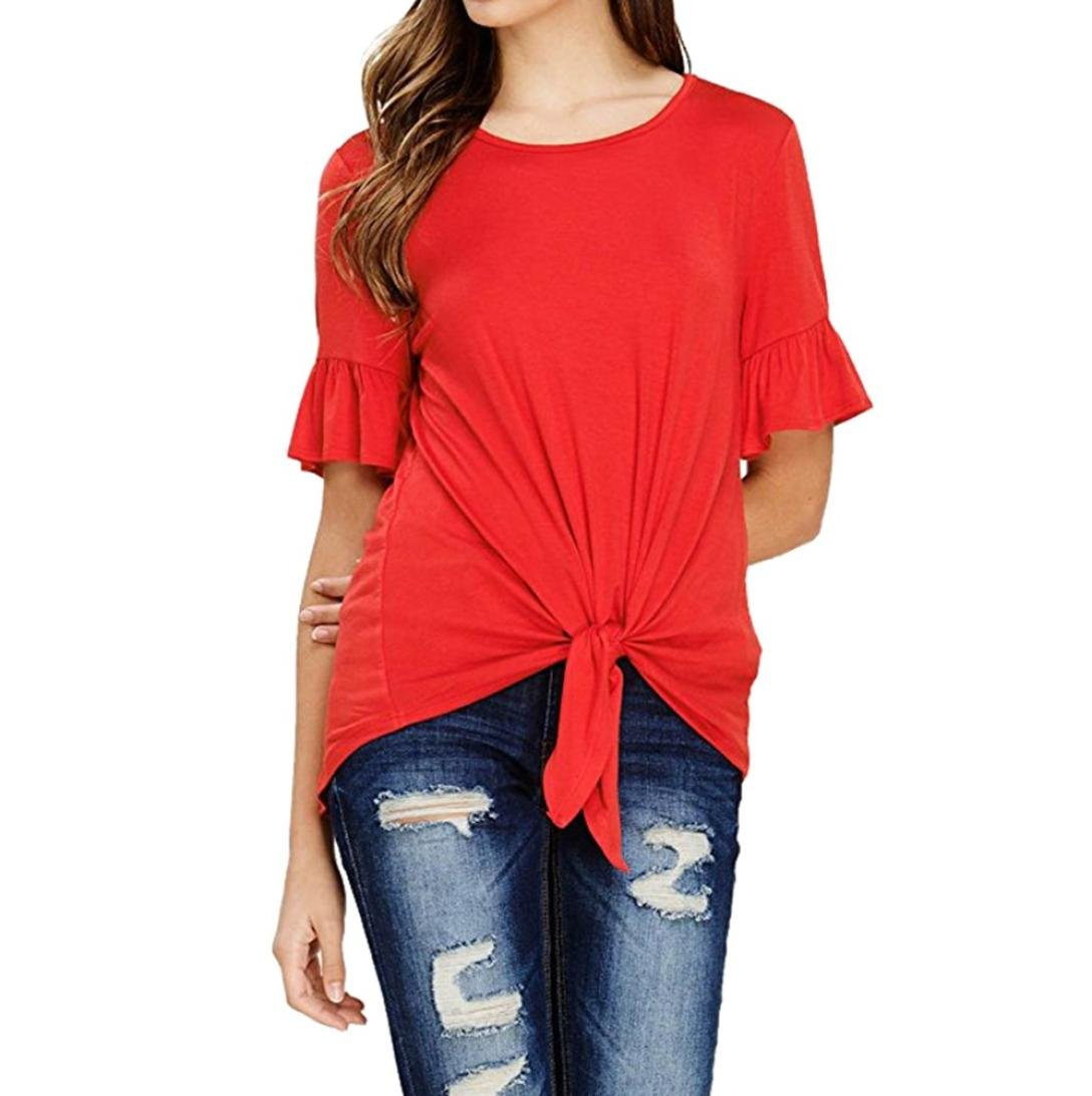 Clearance Forthery Women Blouse Summer Short Sleeve Tie Knot Front T-Shirt Tops (XL, Red)
