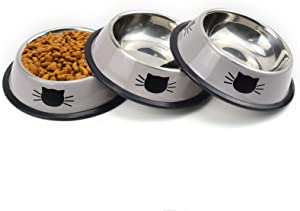 Sonyaer Stainless Steel Cat Bowls, Food and Water Cat Dishes Non Slip Stackable Pet Bowl for Cat, Kitten, Puppy, Small Dog (3 Pack - Grey)