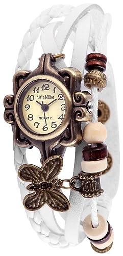 Alain Miller Retro Reloj de pulsera reloj analógico Mujer Blanco Quartz Reloj De: Amazon.es: Relojes