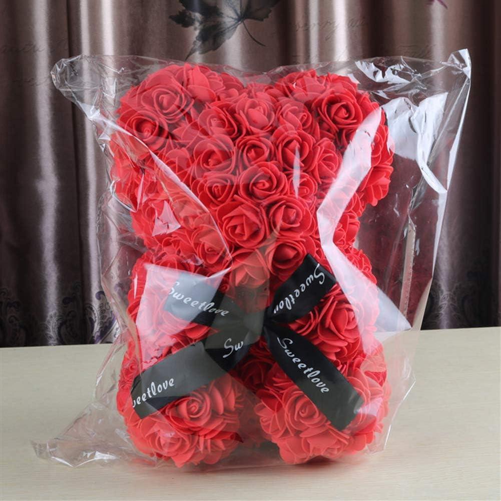 Demiawaking Orso Rose 23 CM Fiori Artificiali Orsetto di Rose Orso Rose Finte in Schiuma Bambola Regalo per Compleanno San Valentino Anniversario Azzurro