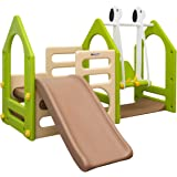 LittleTom Playhouse with Slide + Swing + Climbing walls | play Gym made of plastic for little Children 1-6 years | for indoors and outdoors | multicolor Beige Green Brown