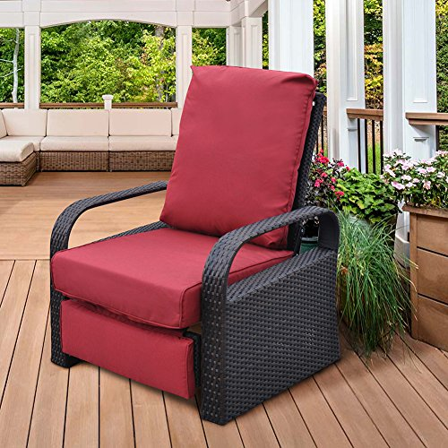 ART TO REAL Outdoor Resin Wicker Patio Recliner Chair with Cushions, Patio Furniture Auto Adjustable Rattan Sofa, UV/Fade/Water/Sweat/Rust Resistant, Easy to Assemble (Red) (Resin Patio Wicker)