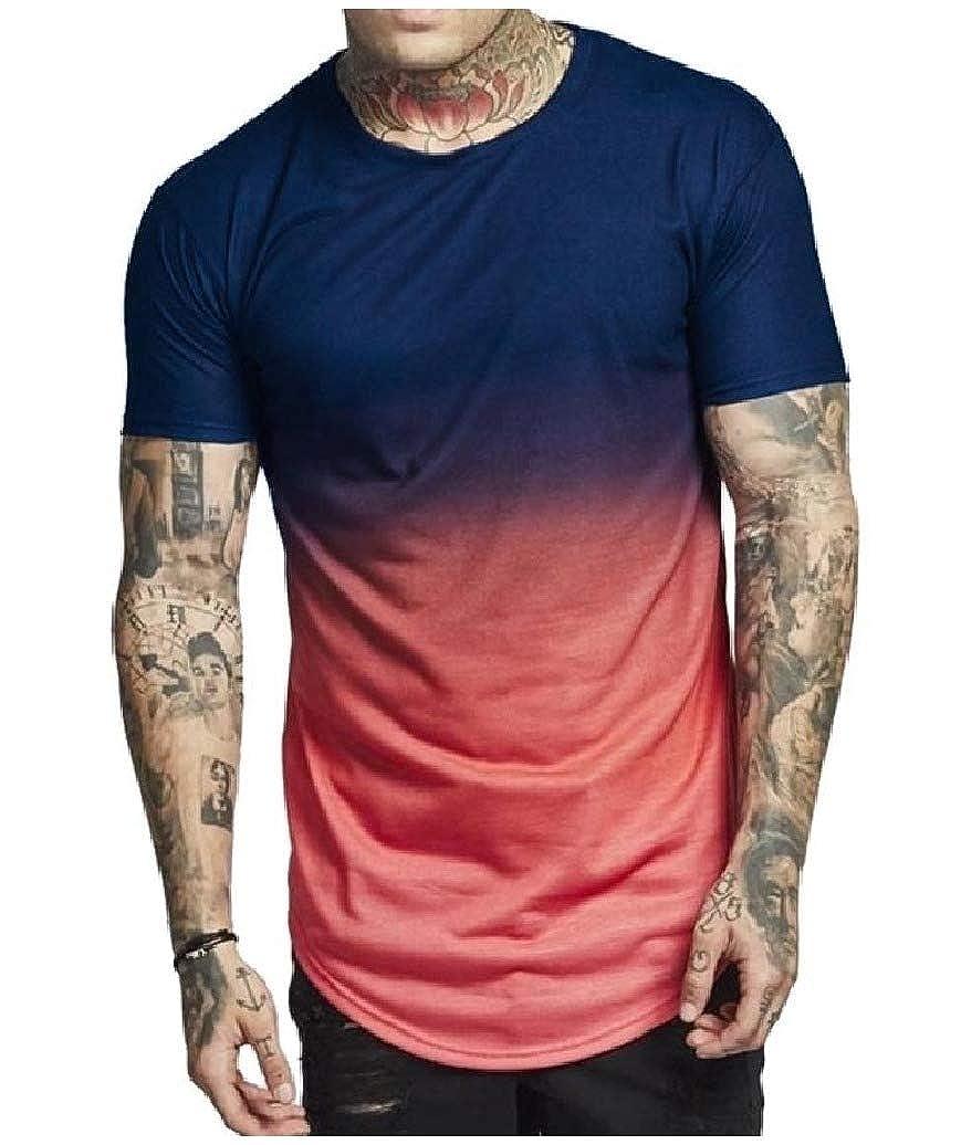 Fieer Mens Summer Pullover Splice Short-Sleeve Gradient Ramp T-Shirt