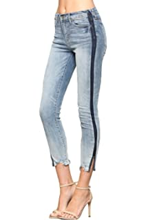 793d4afdb0e Vervet Jeans By Flying Monkey Tuxedo Cut Out Hem Side Slit Ankle Skinny Mid  Rise