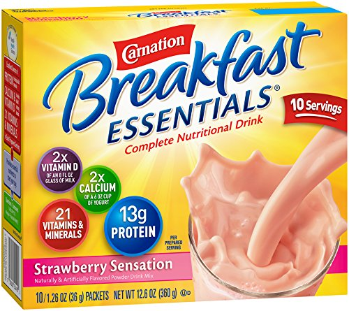 Carnation Breakfast Essentials Powder Drink Mix, Strawberry Sensation, 10 Count Box of 1.26 oz Packets, 6 Pack
