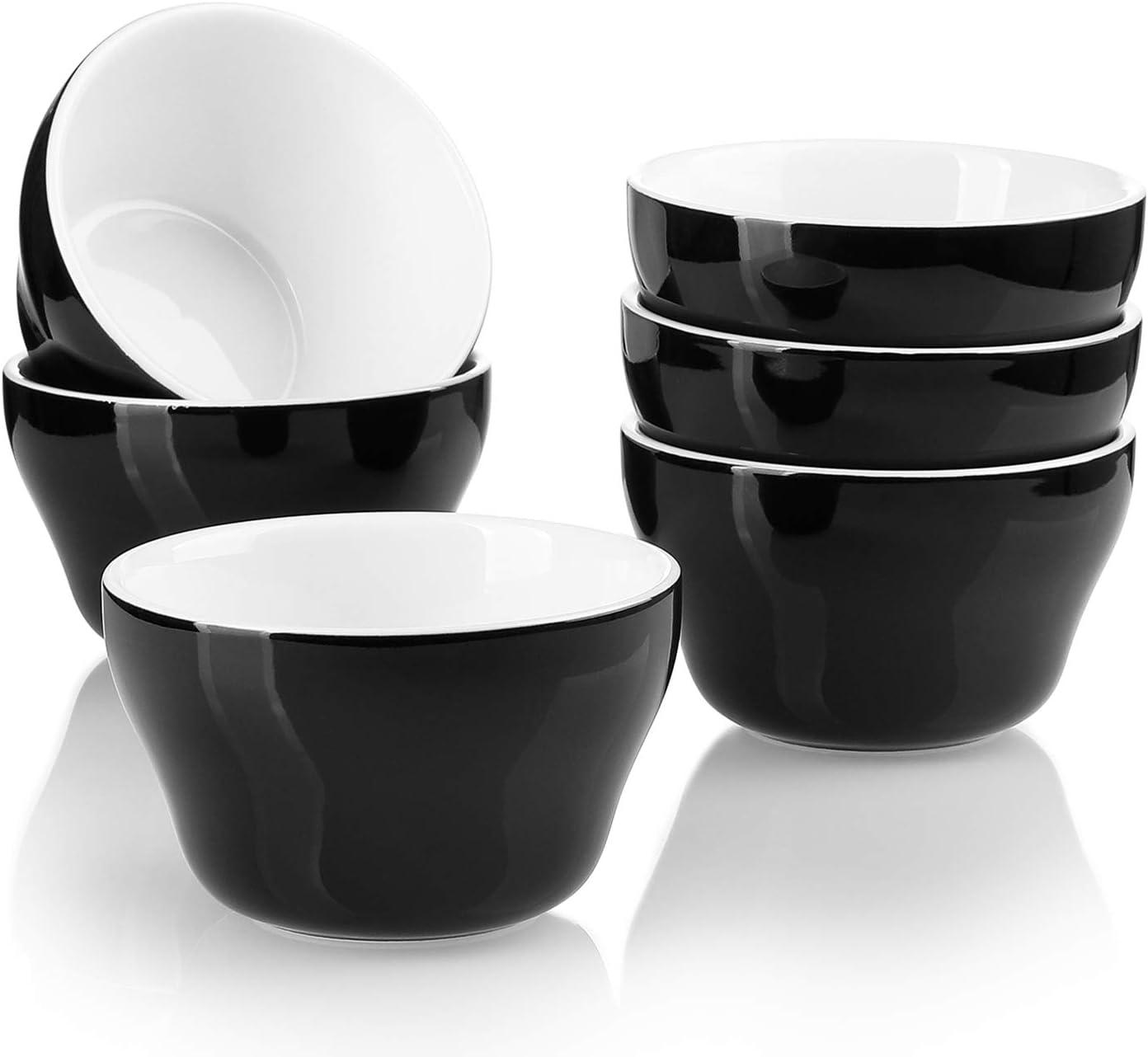 Sweese 107.612 Porcelain Bouillon Cups - 8 Ounce Dessert Bowls - Set of 6, Black