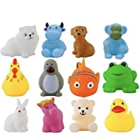 ZZ ZONEX 12 Piece Toddler Baby Bathtub Bathing Chu Chu Squeeze Bath Toys Non-Toxic BPA Free, Animal Shape