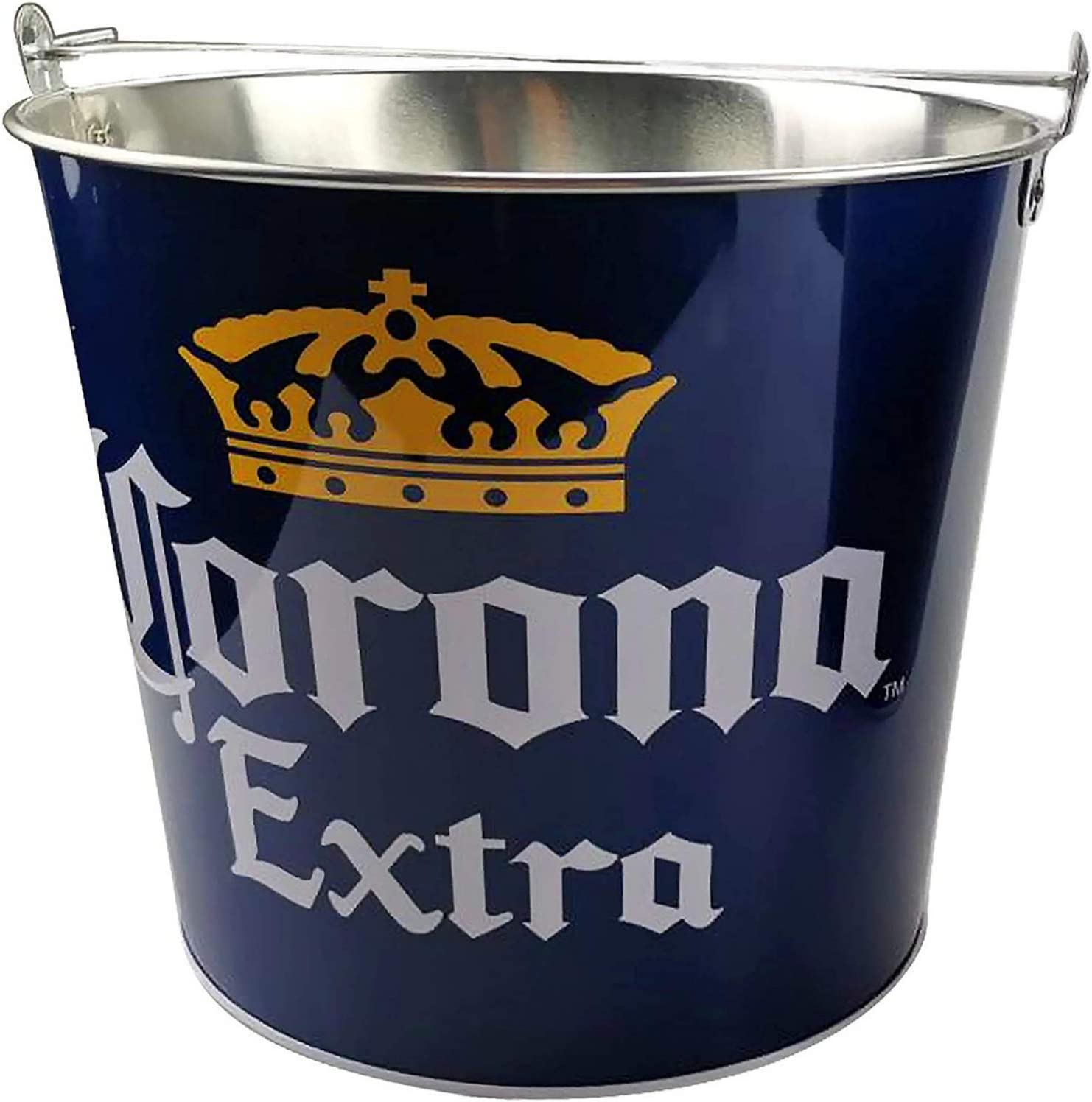Silver Buffalo Corona Extra 5qt Round Metal Bucket, 5-Quart, Blue