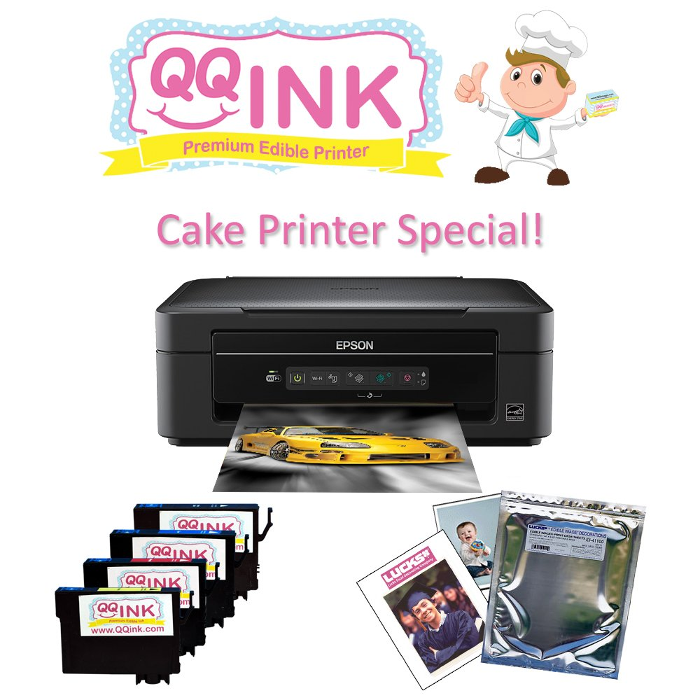 QQink Cake Printer Bundle - Epson Comes with Edible Ink & Lucks Print Ons Edible Paper
