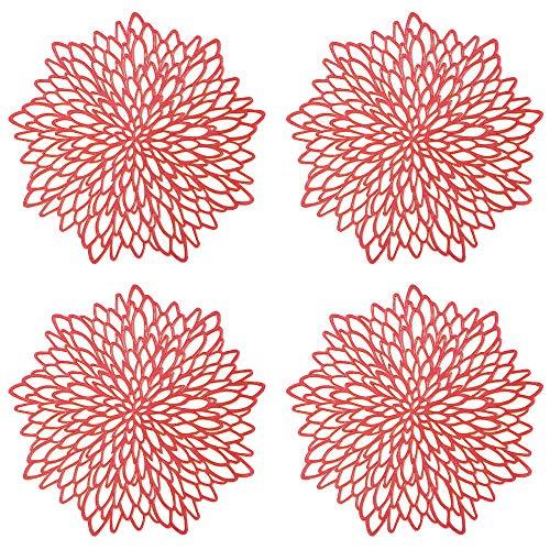 GlobalDream Redondos Salvamanteles Ahuecados, 4 Piezas Manteles Individuales Mantel Individual Tapetes para Mesa de Comedor Kitchen Placemat (Rojo, 38cm)