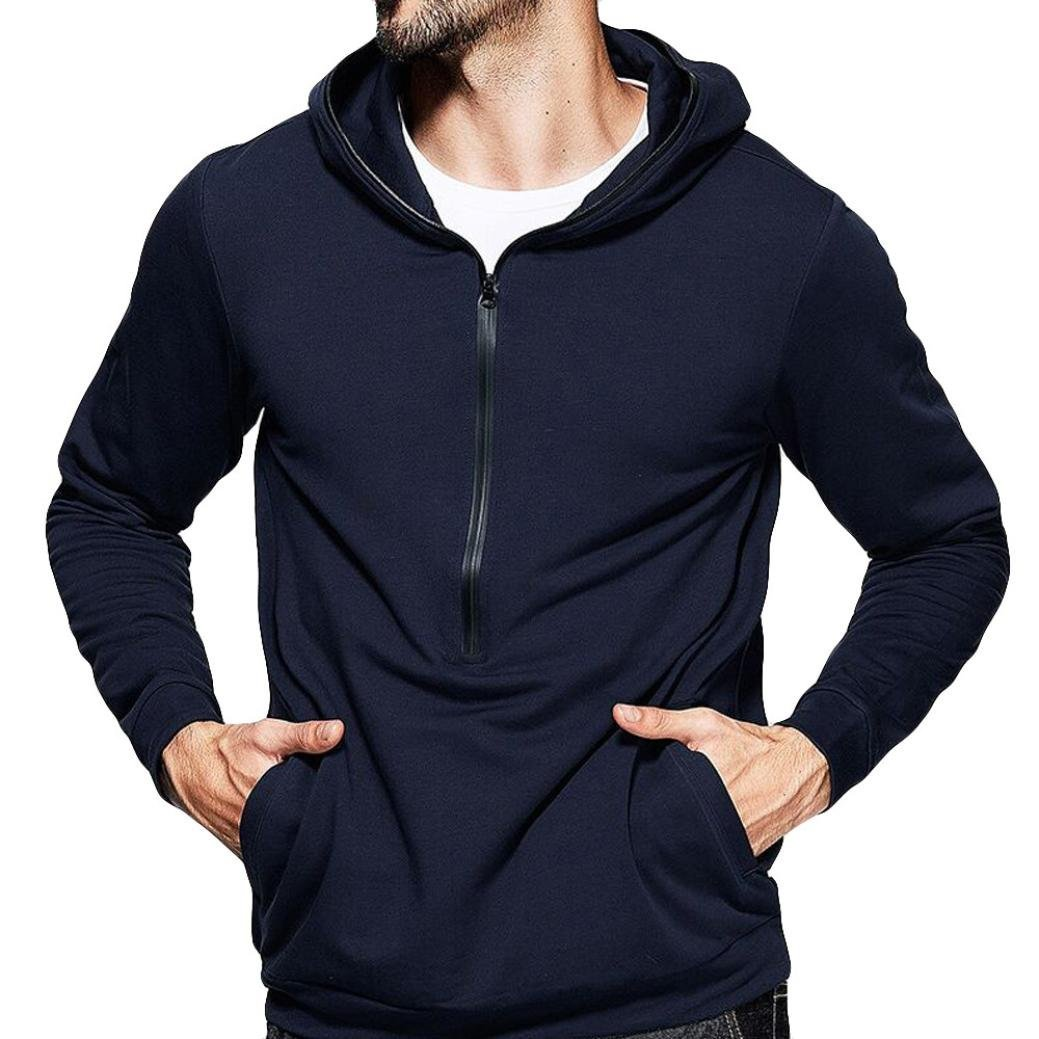 vermers Clearance Mens Hooded Sweatshirt on Sale - Mens Pure Color Zipper Pullover Long Sleeve Hoodie Tops(XL, Navy)