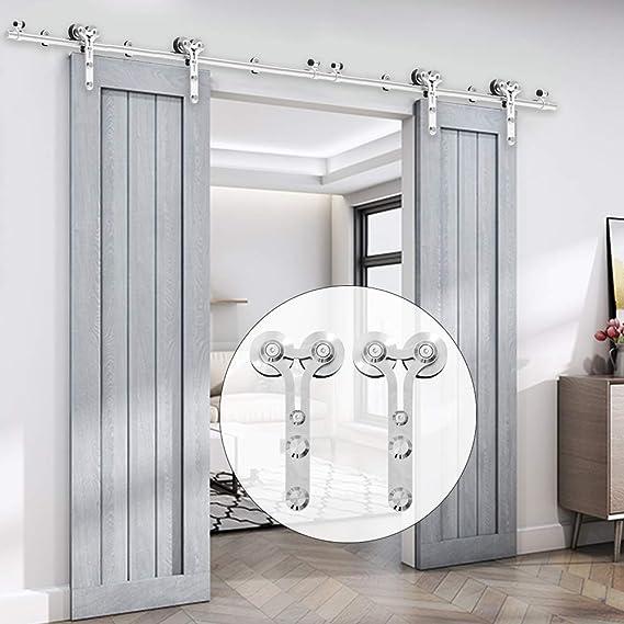 201cm/6.6FT kit de puerta corredera de acero inoxidable,Herrajes para puertas corredizas de acero inoxidable para puertas de vidrio/madera: Amazon.es: Bricolaje y herramientas