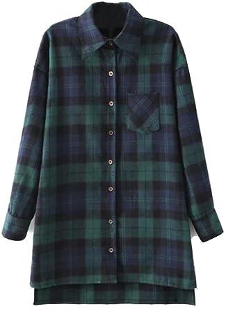Shein - Camisas - para Mujer Verde Verde Large: Amazon.es: Ropa y accesorios
