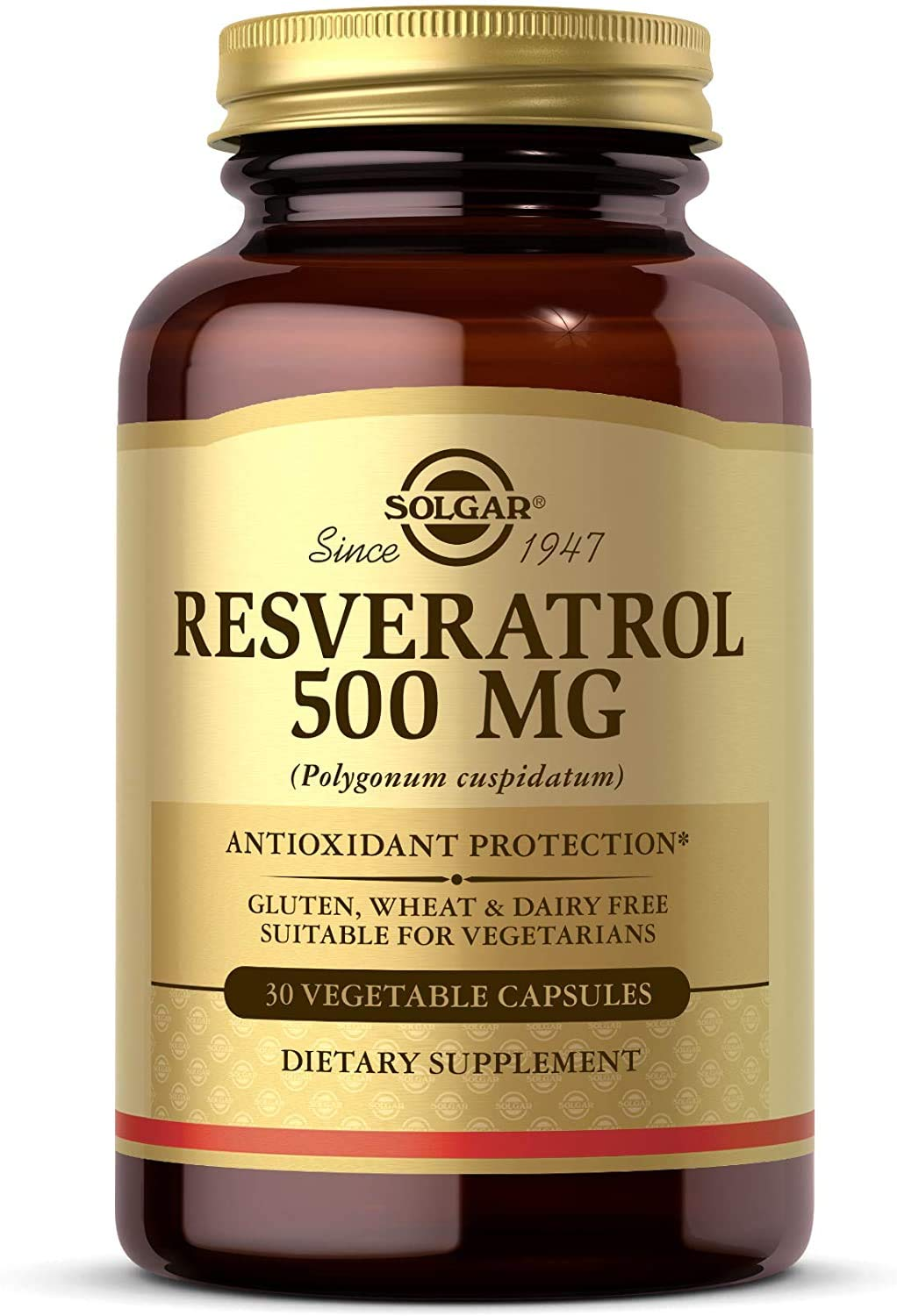 Solgar Resveratrol 500 mg, 30 Vegetable Capsules - Antioxidant Protection - Gluten Free, Dairy Free - 30 Servings