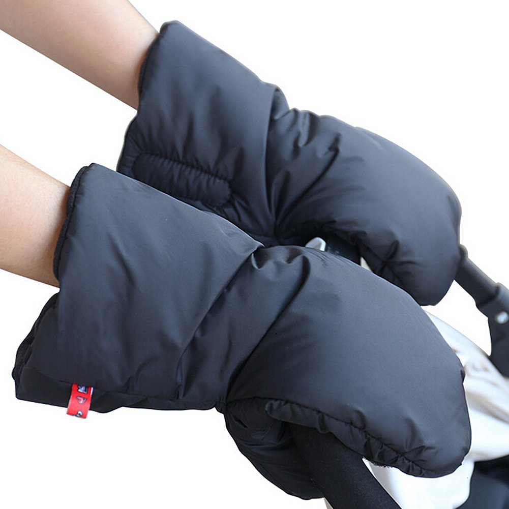 Stroller Gloves Hand Muff - Extra Thick Winter Waterproof Anti-freeze Gloves Warmer for Parents and Caregivers by IntiPal (Black) Mightyhand