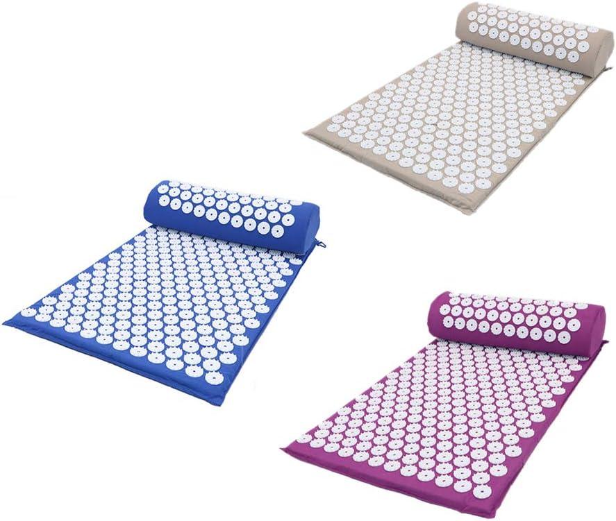 ForeWan Ensemble de tapis de massage et oreiller pour le repos le dos la t/ête les /épaules le soulagement des douleurs musculaires du corps r/éflexologie le stress le cou