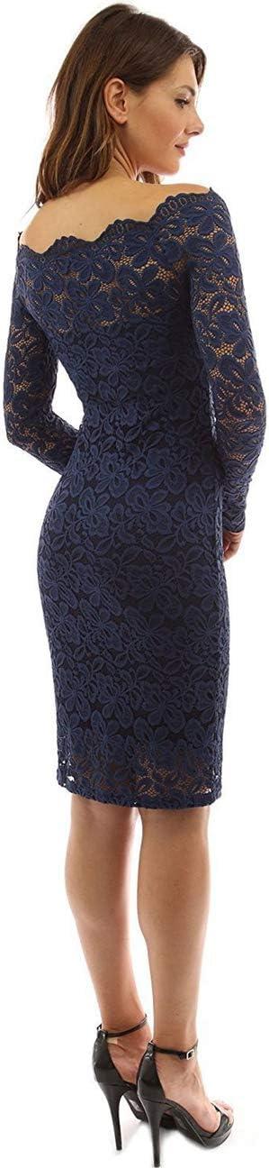 Taigood damska sukienka koktajlowa z długim rękawem, koronkowa, z kwiatową koronką, podkreślająca figurę: Odzież