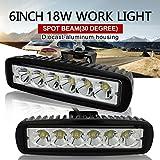 Safego 18W LED Work Light Lamp Spot Bar 12V 24V Car 4X4 Fog Driving Off Road Lights Truck Jeep 30 Degree L18W-SP Pack of 2