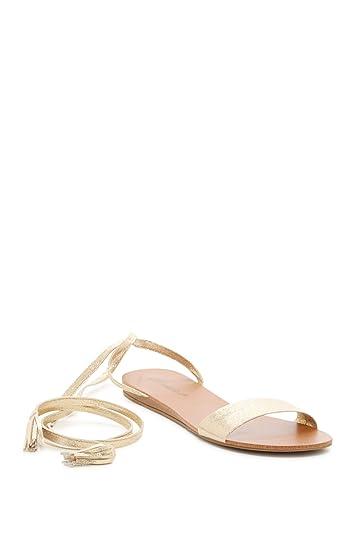 413ea9c7a6 Breckelle's Women Faux Suede Open Toe Ankle Wrap Tasseled Gladiator Sandal  GG45 - Champagne Metallic (