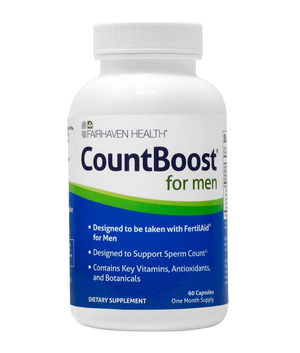 CountBoost for Men Fertility Supplement, FertilAid Companion Product, Additional Herbal & Antioxidant & Nutrient Support for Sperm Count, with Ashwagandha/Maca/Glutathione/D-Ribose, 60 Veg Caps