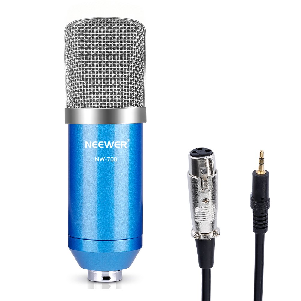 Neewer® NW-700 Professional Studio Broadcasting & Recording Condenser Microphone Set Including: (1) NW-700 Condenser Microphone + (1) Ball-type Anti-wind Foam Cap + (1) Microphone Audio Cable (Black) NEEWN
