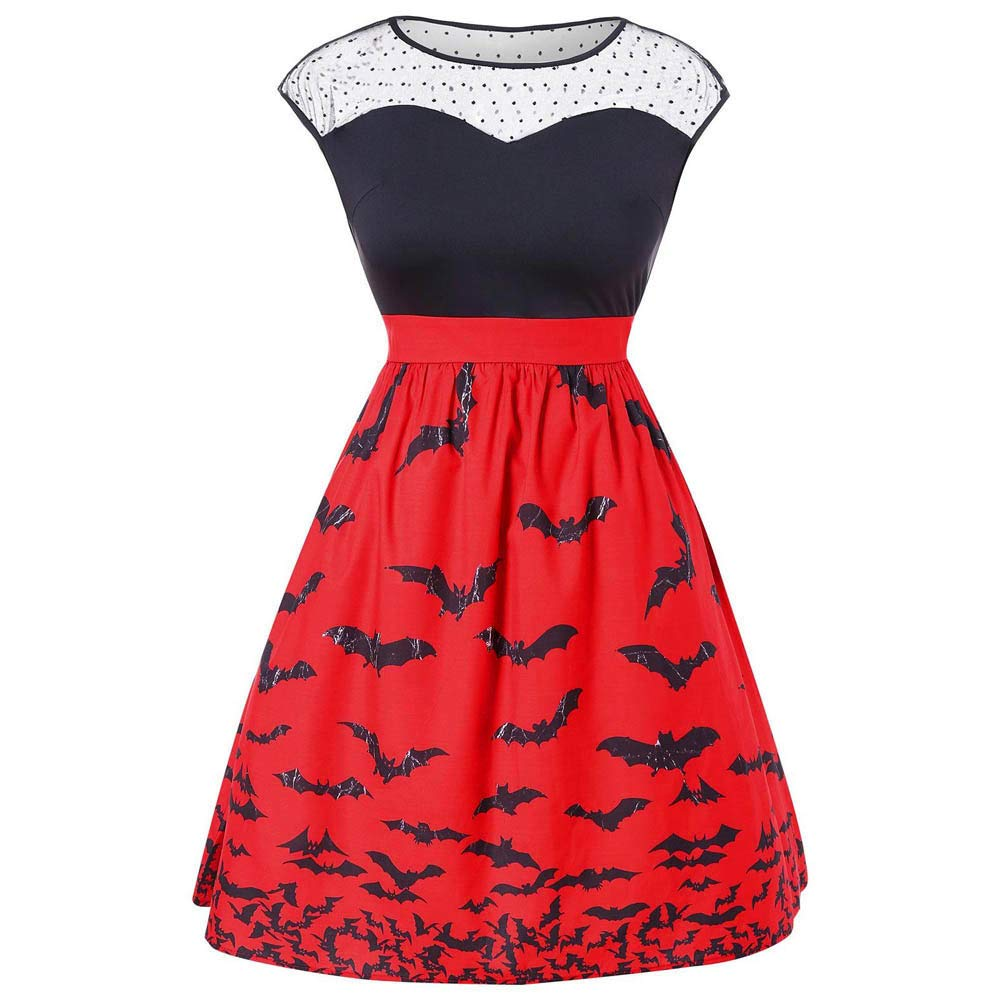 Vestidos Largos,Mujer 2018 Vintage Mujer Rayado Vestidao,Vestido Fiesta Mujer Largo Boda,JYC,Mujer de Halloween Fiesta Murciélago Impresión Retro ...