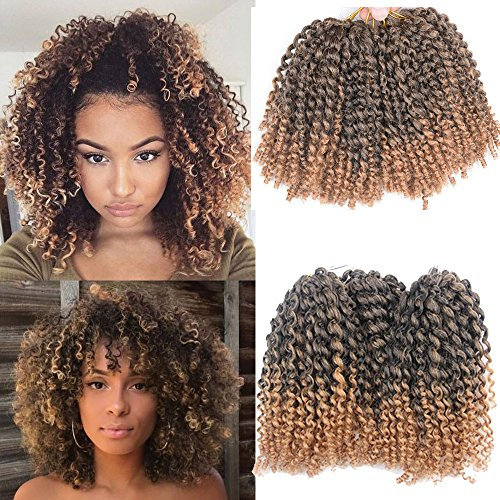 3pcs/pack Marley bob Kinky Curl 8 Inch Afro Kinky Twist Hair Soft Synthetic Crochet Braiding Hair Extention (1B/27)
