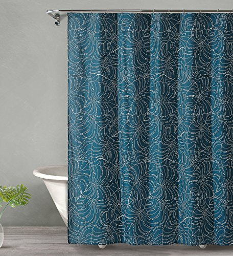 (Style Quarters TROPICAL MIDNIGHT Shower Curtain - Palm Leaves on Dark Blue Ground - 100% Cotton - Buttonhole - Machine Washable - 1pc - 72