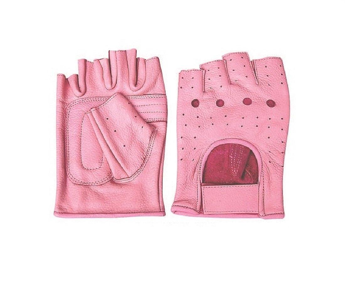 Allstateレザーレディースal3012すべてレザー指なし手袋 B00E424QZ0  ピンク XL