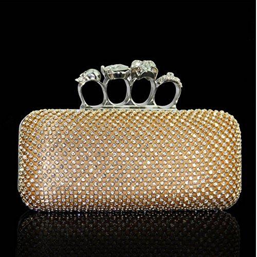 Monedero Negro bolsa plata Hand Brig Fiesta Bag Imitación Bolso Noche Yyy Mano Wlq Clutch Diagonal Diamantes Dorado De Handbag 1qBaxwyz84