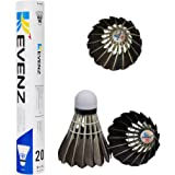 KEVENZ 12-Pack Advanced Goose Feather Badminton Shuttlecocks,Nylon Feather Shuttlecocks High Speed Badminton Birdies Balls with Great Stability and Durability