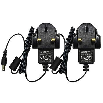 2-Pack AC 100-240V to DC 12V 1.5A Power Adapter Supply Plug UK 5.5mm x 2.1mm for CCTV Cameras DVR NVR LED Light Strip CE BS