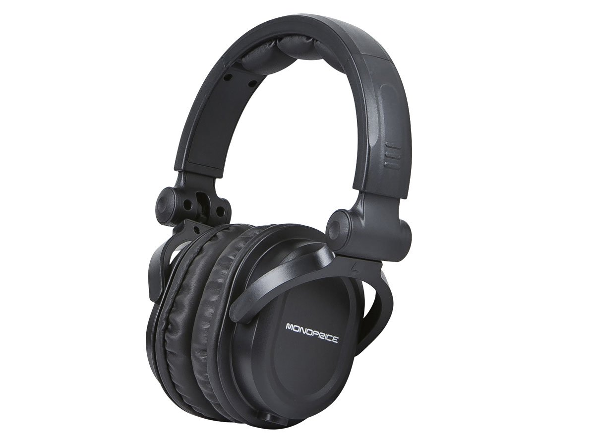 Monoprice Premium Hi-Fi DJ Style Over the Ear Professional Headphones - Black with microphone for Studio PC Apple Iphone iPod Android Smartphone Samsung Galaxy Tablets MP3 by Monoprice