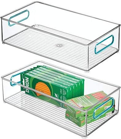 mDesign Juego de 2 cajas de almacenaje con asas integradas – Cajas ...