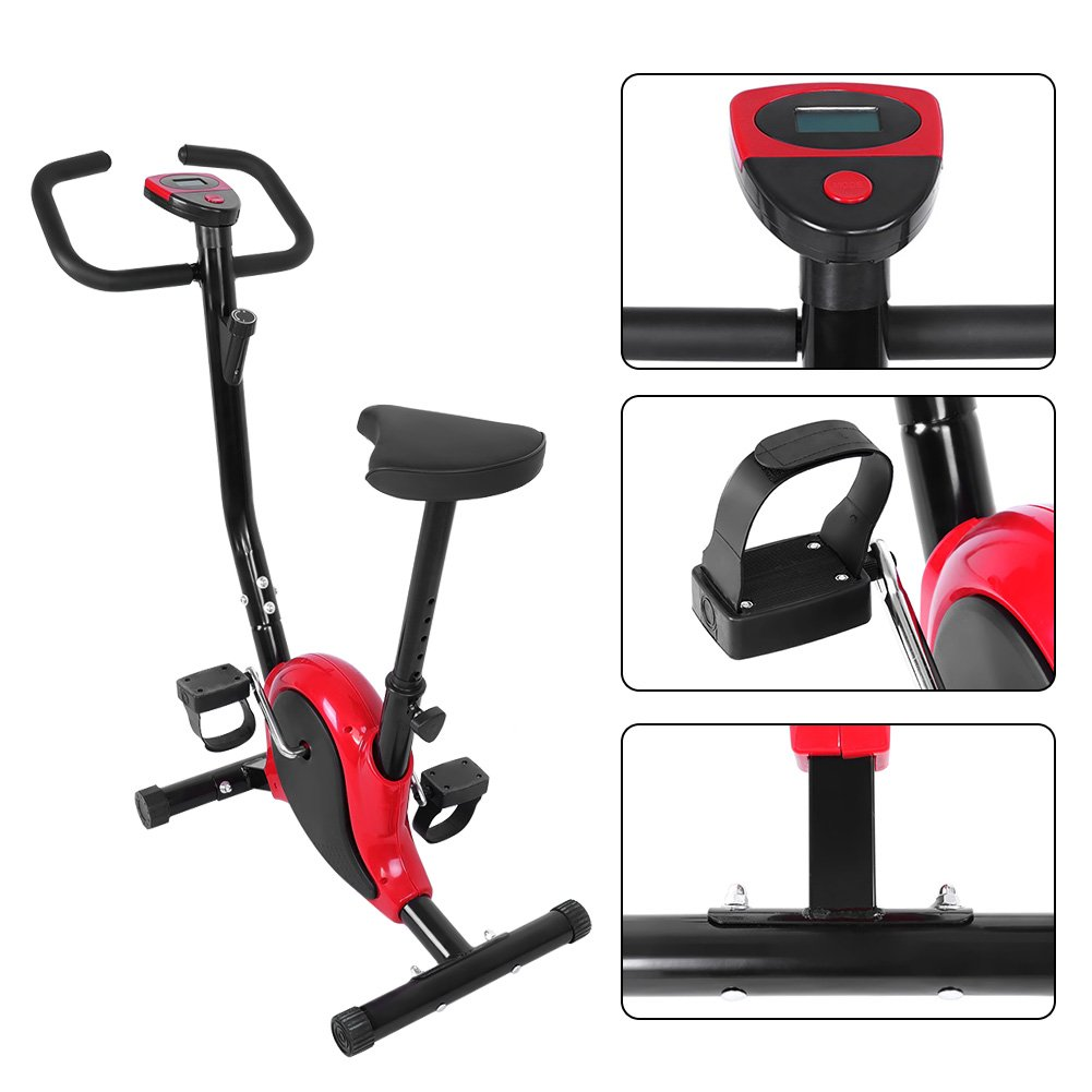 Yosoo Adjustable Fitness Exercise Bike, LCD Screen Stainless Steel Indoor Exercise Cycling Bicycle For Resistance Cardio Workout