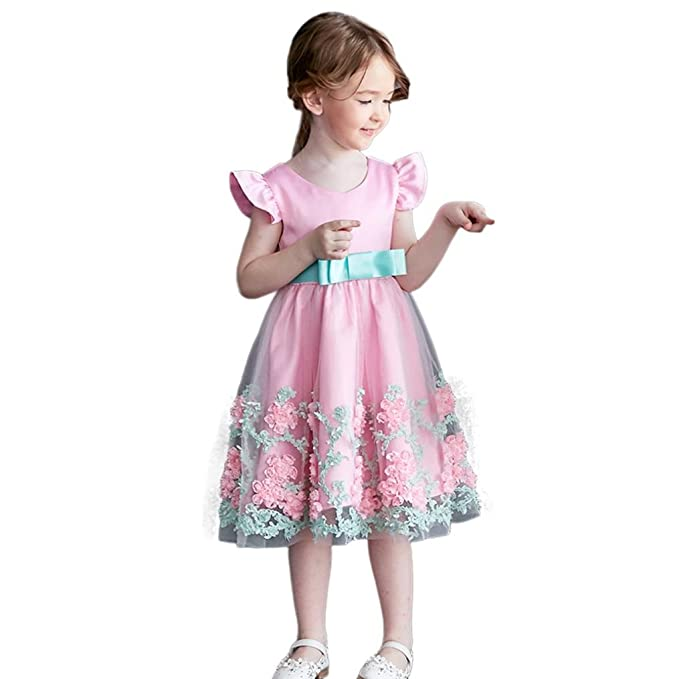 Baby M/ädchen Kleid mit Bl/ütenbl/ätter Taufkleid Festlich Kleid Hochzeit Party Kleinkind Festzug Kinder Kleidung T/üll Kleid
