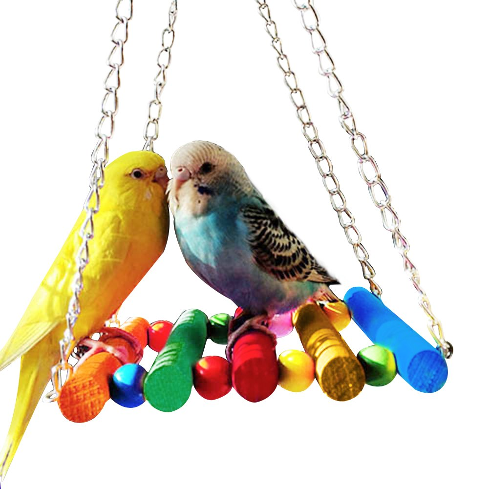 GlobalDeal Colorful Pet Bird Swings Parrot Toys,Parakeets Hammock Toy, Your Lovebirds (Colorful Beads)