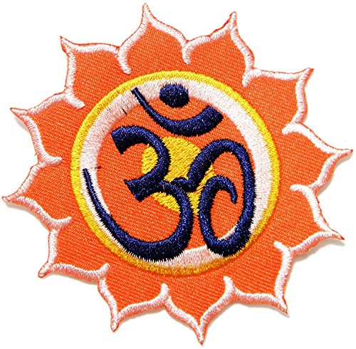 [Lotus Aum Om Ohm Hindu Yoga Indian Lotus Lucky Sign Logo Hippie Retro Biker Jacket T-shirt Vest Patch Sew Iron on Embroidered (Orange)] (Hippie Inflatable Guitar)