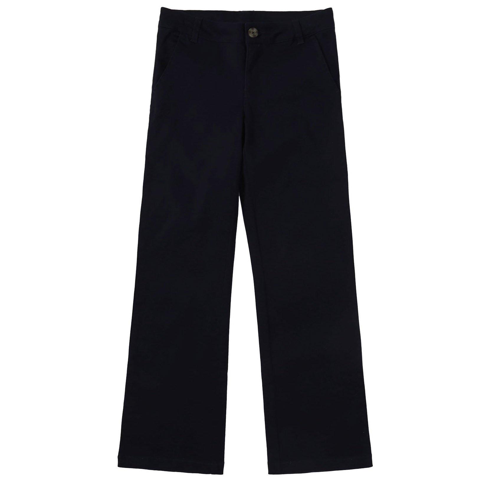 Bienzoe Girl's School Uniforms Cotton Stretchy Twill Adjust Waist Flat Front Pants Black Size 4