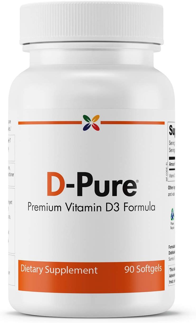 Stop Aging Now - D-Pure 5000 IU Vitamin D3 Formula - Premium Vitamin D3 Formula - 90 Softgels