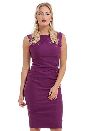 aa4369653d Claudette Ruche Purple Pencil Dress-Purple-XL  Amazon.co.uk  Clothing