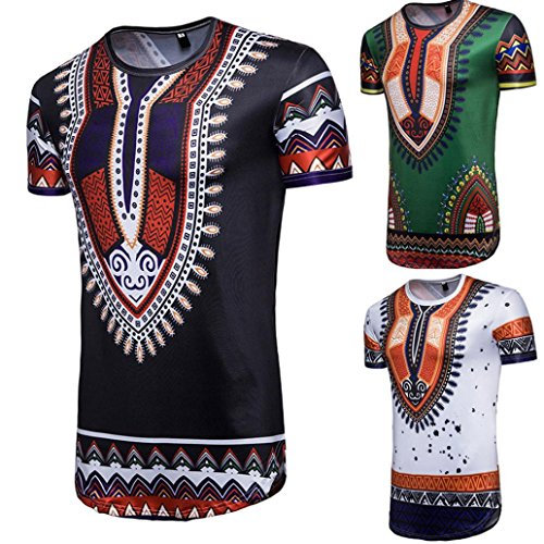 Cinnamou Hombre verano casualafrican Imprimir o cuello JERSEY Short Sleeve T - shirt top blouse xYy7idl8I