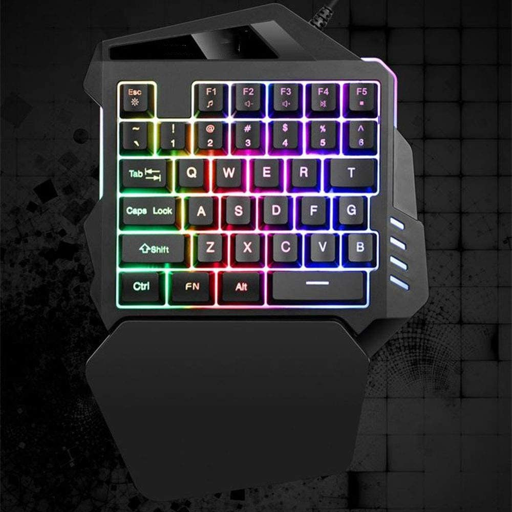Support Wrist Rest NBCDY One-Handed Keyboard k13 RGB Led Backlit 35-Key USB Wired Rainbow Letters Glow Portable Mechanical Mini-Game Keyboard