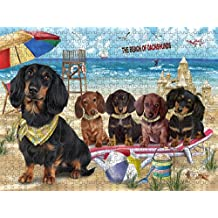 Pet Friendly Beach Dachshunds Dog Puzzle with Photo Tin PUZL49626 (551 pc.)
